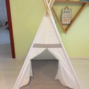 Teepee White 3 szőnyeggel , Baba-mama-gyerek, Dekoráció, Esküvő, Díszcsíkkal díszített fehér sàtor játszószőnyeggel. 110cm oldalak, 125 magas, lecek 180cm. ..., Meska