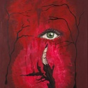 Akril festmény. Címe: Figyellek, Képzőművészet, Festmény, Akril, 50 X 70-es egyedi akril festmény, szokatlan, megdöbbentő hangulatú. Feszített vászonra készí..., Meska
