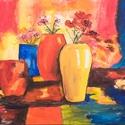 Akril festmény, 50 x 40 cm, kasírozott vászon, Képzőművészet, Otthon, lakberendezés, Festmény, Akril, Színes csendélet, vászonra festve, akrillal, Meska