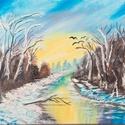 Téli táj, Képzőművészet, Festmény, Olajfestmény, Olajfestmény, téli hangulat  40 x 50 cm, Meska