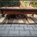 """HAKAN dohányzóasztal, Bútor, Otthon, lakberendezés, Asztal, Famegmunkálás, Fémmegmunkálás, Indusztriális stílusú """"cart"""" dohányzóasztal. Az asztallap anyaga tömör újrahasznosított fa színre k..., Meska"""