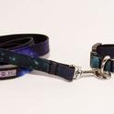 """Galaxisos póráz és nyakörv szett, Állatfelszerelések, Kutyafelszerelés, Varrás, A PurpleTurtleBag """"kistestvéreként"""" létrejött a Purple Dog márka, aminek a keretein belül egyedi pó..., Meska"""