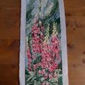 Rózsaszin harangvirágos gobelin kép, Dekoráció, Otthon, lakberendezés, Gobelin, Falikép, 14.5 cm x 44 cm-es harangvirágos tűgobelin kép. Osztott hímző 3 szálával varrva., Meska