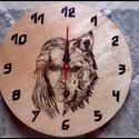 Égetett fa óra, Otthon & lakás, Lakberendezés, Falióra, óra, Gravírozás, pirográfia, Fából készült falra akasztható óra, melyet vaják mintával díszítettem.  Egyelőre nincs készen óra, ..., Meska