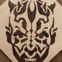 Star Wars, Darth Maul - Pirográf technikával, Dekoráció, Képzőművészet, Otthon, lakberendezés, Kép, 12X12 cm-es falap, kézzel készült pirográf technikával. (faégetés), Meska