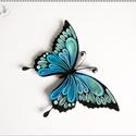 Kék pillangó hűtőmágnes, Dekoráció, Mindenmás, Otthon, lakberendezés, Papírművészet, 4 mm-es papírcsíkokból készült kemény karton alapon. A kész minta decoupage ragasztólakkal van leke..., Meska