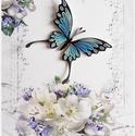 Kék pillangós kép, Otthon, lakberendezés, Dekoráció, Falikép, Kép, Papírművészet, 4 mm-es papírcsíkokból, quilling technikával készült falikép. Csak keret nélkül! , Meska