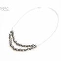 Ezüstszínű hematit nyaklánc, Ékszer, Nyaklánc, Ezüstszínű hematit ásványgyöngyből készült kétsoros nyaklánc, mely ezüst színű láncca..., Meska
