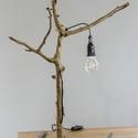 """""""Ág"""" asztali lámpa, Otthon & Lakás, Lámpa, Asztali lámpa, Fémmegmunkálás, A kecskék szeretik lerágni a fák kérgét. Ezeknek az almafa ágaknak Csoki, a saját kecském rágta le...., Meska"""