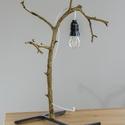 """""""Ág"""" asztali lámpa, Otthon & Lakás, Lámpa, Asztali lámpa, Famegmunkálás, Fémmegmunkálás, A kecskék szeretik lerágni a fák kérgét. Ezeknek az almafa ágaknak Csoki, a saját kecském rágta le...., Meska"""