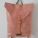 Kézzel festett rózsaszín vászon hátizsák bőr pántokkal , Táska, Hátizsák, A hátizsák gyönyörű színét a festőbuzér gyökeréből kinyert természetes növényi festé..., Meska