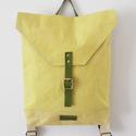 Kézzel festett sárga vászon hátizsák bőr pántokkal