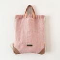 Rózsaszín lenvászon zsinóros hátizsák, Táska, Hátizsák, A táska anyaga erős, kézi szövésű lenvászon, az anyag púderrózsaszín színét pedig a fest..., Meska