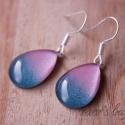 rózsaszín-csillogó kék  ombre fülbevaló, Ékszer, Fülbevaló, A fülbevaló anyaga festett üveglencse, rózsaszín-csillogó kék színátmenettel.   , Meska