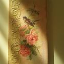Rózsaliget, Dekoráció, Famegmunkálás, Decoupage, szalvétatechnika, Fenyő deszkára, rizspapír felhasználásával készített nosztalgikus falikép. Méretei: 40 x 20 x 1,8 cm, Meska