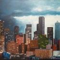Felhőkarcolók, Képzőművészet, Festmény, Akril, Festészet, Feszített vászonra festett 60x80cm méretű akrikép. A képen egy nagyvárosi részlet látható sötétedés..., Meska