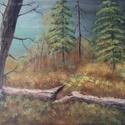 Erdőrészlet, Képzőművészet, Festmény, Akril, Festészet, Farostlemezre készült, erdőrészletet ábrázoló akrilfestmény. Mérete 26x39cm. Az ár keret nélkül ért..., Meska