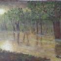 Ködös ártéri erdő , Képzőművészet, Festmény, Akril, Festészet, Farostlemezre készült akrilfestmény. Mérete 24x34cm.  Az ár keret nélkül értendő., Meska
