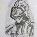 Darth Vader-es kép, Otthon & lakás, Képzőművészet, Grafika, Rajz, Fotó, grafika, rajz, illusztráció, Darth Vader-es kép egy fekete-fehér kompozíció igazi csemege a rajongóknak. Aquarell rajzlapra A4-e..., Meska