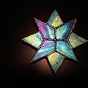 Kék nyolc ágú csillag Tiffany üveg karácsonyfadísz