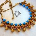 Nyakék türkiz és matt arany színekkel, Ékszer, óra, Nyaklánc, Türkiz színű ásványokkal (6 mm) és különböző méretű matt arany gyöngyökkel készítettem el ezt a nyak..., Meska