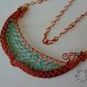 Vörösréz nyakék, Ékszer, óra, Nyaklánc, Különböző méretű vörösréz ékszerdrót felhasználásával, és türkiz színű biconokkal készítettem el ezt..., Meska