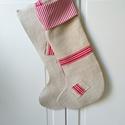 1 pár piros csíkos zsákvászon kandallózokni karácsonyi zokni (HD015), Otthon & lakás, Dekoráció, Ünnepi dekoráció, Karacsonyi kandallózokni -1 pár  Antik zsakvaszonbol, piros csikozassal Pamutvaszon diszitessel es s..., Meska