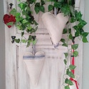 1 pár kék csíkos zsákvászon karácsonyi szív (HD013), Otthon & lakás, Dekoráció, Ünnepi dekoráció, Karacsonyi dekorációs szív párban  Antik zsakvaszonbol, kek csikozassal Durvan varrtam a rusztikusab..., Meska