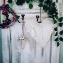 1 pár vintage rusztikus lenvászon karácsonyi szív és zsák szett, Otthon & lakás, Dekoráció, Ünnepi dekoráció, Vidéki stílusú vintage dekorációs szív és zsák szett  Antik lenvaszonbol Durvan varrtam a rusztikusa..., Meska