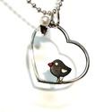 Szívem-madárkám, Ékszer, Medál, Ezüstből készült kb2,5gr-os medálka.Szív formájú kereten álló kis antikolt madárkát ábr..., Meska