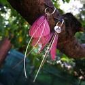 fátyolka, Ékszer, Szerelmeseknek, Fülbevaló, libegő selyemszárnyú ezüst fátyolka fülbevaló,ezüst kis karikafülbevaló alappal., Meska
