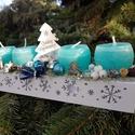Kék adventi asztaldísz, Hossza kb 30cm fehér fa, nagyon szép kék gyerty...