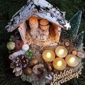 Kis betlehem, 25cm àtmèrős fa szeletre keszült karácsonyi d...
