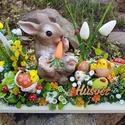 Húsvéti nyuszis asztaldísz , 35cm hosszú 15cm széles fehér fa tálca az alap...