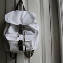 Fehér hátizsák, pamutvászon és bőr, Táska, Hátizsák, Varrás, Kötés, Méretei:: 32 x 13 x 24 cm  Brazil 100% pamut vászon és valódi bőr felhasználásával készült.  szinek..., Meska