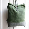Zöld  viaszolt vászon és szürke bőr  hátizsák, Táska, Hátizsák, Varrás, A képen látható hátizsák bőr és általam viaszolt brazil vászon felhasználásával készült.  A bélés a..., Meska