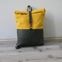 Rebi hátizsák, sárga viaszolt vászon és bőr, Táska, Hátizsák, Varrás, A képen látható hátizsák bőr és általam viaszolt brazil vászon felhasználásával készült.   Mérete: ..., Meska