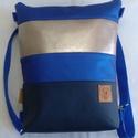 Kétfunkciós kék és ezüst textilbőr táska, Táska, Hátizsák, Válltáska, oldaltáska, Varrás, Textilbőr táska hozzá illő aprómintás kék pamutvészonnal bélelve, belül két zsebbel. A táska cipzár..., Meska
