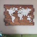 Világ térkép , Dekoráció, Kép, String art technikával készült falikép.Alapja fából készült. Mérete 100x75cm. , Meska