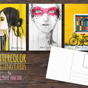 AKVARELL képeslapok, Otthon & lakás, Naptár, képeslap, album, Képzőművészet, Képeslap, levélpapír, Illusztráció, 3 darab akvarelles képeslap - méret: 10,5x15 cm - 300 g-os papír, Meska