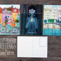 ILLUSZTRÁCIÓS képeslapok, Otthon & lakás, Naptár, képeslap, album, Képzőművészet, Képeslap, levélpapír, Illusztráció, 3 darab illusztrációs képeslap - méret: 10,5x15 cm - 300 g-os papír  Budapesten átvehető személyesen..., Meska