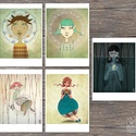 TÜNDÉRES illusztrációk, Képzőművészet, Otthon, lakberendezés, Illusztráció, 5 darab digitális print tündéres illusztrációkkal ideális gyerekszobába dekorációként - méret: 21x30..., Meska