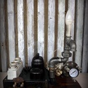 """""""Steampunk-industrial"""" asztali lámpa- """"Biztosíték tábla"""", Otthon, lakberendezés, Lámpa, Fali-, mennyezeti lámpa, Hangulatlámpa, Újrahasznosított alapanyagból készült termékek, Ami a műhelyben megtalálható... Hamisítatlan újrahasznosítás egyedi és utánozhatatlan hangulatú """"st..., Meska"""