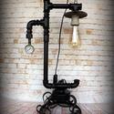 """""""Steampunk-industrial"""" hangulat lámpa- """"Fekete cső"""", Otthon, lakberendezés, Lámpa, Fali-, mennyezeti lámpa, Hangulatlámpa, Újrahasznosított alapanyagból készült termékek, Ami a műhelyben megtalálható... Hamisítatlan újrahasznosítás egyedi és utánozhatatlan hangulatú """"st..., Meska"""