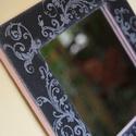 Fali tükör, ezüsttel és feketével. :-), Esküvő, Dekoráció, Decoupage, transzfer és szalvétatechnika, Festett tárgyak, Fali tükör, mely elegáns és különleges mintájával egyedi dekorációja lehet otthonodnak. :-) A fa ke..., Meska