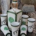 Egyedi Fradi logóval és felirattal ellátott italos szett. :-), Esküvő, Férfiaknak, Focirajongóknak, Nászajándék, Decoupage, transzfer és szalvétatechnika, Festett tárgyak, A képen látható italos üveget a 6  pálinkás pohárkával, egy Fradi rajongónak készítettem de ha Neke..., Meska