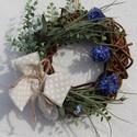 Ajtódísz, kék búzavirággal :-), Dekoráció, Otthon, lakberendezés, Koszorú, Ajtódísz, kopogtató, Virágkötés, Egy lelkiismeretes vesszőfonó barátom keze munkáját dicséri  ez a minőségi, természetes, erős és ta..., Meska