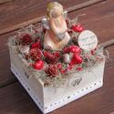 Asztali dekoráció, angyalkával és feliratos táblával. :-), Dekoráció, Otthon, lakberendezés, Baba-mama-gyerek, Gyerekszoba, Virágkötés, Egyedi asztaldísz természetes anyagokból, mellyel becsempészhetsz egy kis varázslatot az otthonodba..., Meska