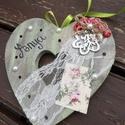 Szív dekoráció az Édesanyáknak....:-), Dekoráció, Otthon, lakberendezés, Dísz, Ajtódísz, kopogtató, Virágkötés, Festett tárgyak, Ezzel a Vintage  hangulatú kis kiegészítővel egyedi  módon tudod díszíteni Édesanyád otthonát, vagy..., Meska