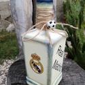 Transzferált focis italos üveg. :-), Férfiaknak, Focirajongóknak, Festett, dekopázsolt,, transzferált üveg, Real Madrid rajongóknak. Kérheted bármilyen mintával, feli..., Meska